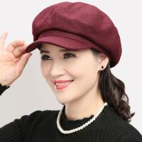 秋冬天羊毛呢有舌八角帽女士时装帽子春季遮阳妈妈布帽休闲贝雷帽