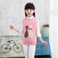 儿童毛衣 女童无袖针织背心马甲2019新款女孩毛衣针织韩版中大童春秋儿童针织衫