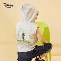 迪士尼童装男童儿童时尚连帽背心帅气宝宝无袖上衣潮2020春夏新款