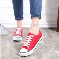 大红色低帮透气男女孩帆布鞋子六一儿童节目舞蹈鞋平底大码小白鞋