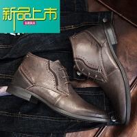 新品上市冬季马丁靴子潮复古真皮英伦内增高中帮男靴靴尖头厚底短靴