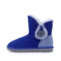 哈森 冬季靴子 拼色平底保暖雪地靴女 圆头羊毛加绒短靴女HA66101