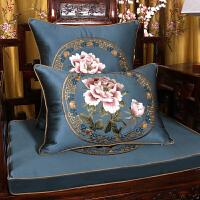 现代新中式抱枕靠垫中国风古典刺绣红木沙发家具腰枕靠枕套客厅大 深蓝色 国色天香