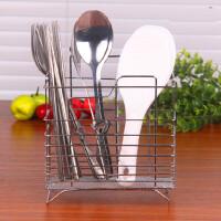 圆形不锈钢筷子筒 可挂式沥水架刀叉勺餐具筒挂式筷子收纳盒厨房家用多功能沥水创意筷笼子架(圆形方形随机
