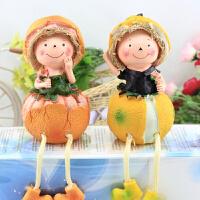 家居装饰品田园工艺摆件 柚子稻草人 吊脚/树脂娃娃 隔板摆件桔子