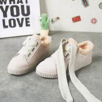 二棉鞋女冬季2018百搭韩版学生加绒小白帆布鞋港风超火板鞋