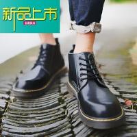 新品上市马丁靴男士低帮英伦风复古工装短靴韩版内增高百搭高帮潮鞋冬