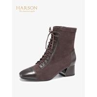 哈森2019秋冬新款粗跟高跟帅气机车马丁靴女 拼接百搭短靴HA98805