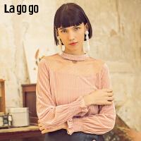 【清仓5折价131】Lagogo拉谷谷2019春季新款女T恤甜美淑媛喇叭长袖上衣IASS531A12