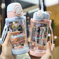 宝宝喝水杯子带吸管塑料儿童水杯防漏防呛幼儿园小学生便携吸管杯