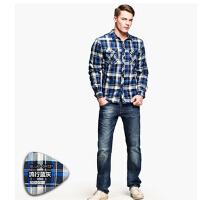 新款时尚保暖衬衫   男士加厚衬衫     加绒休闲保暖衬衣