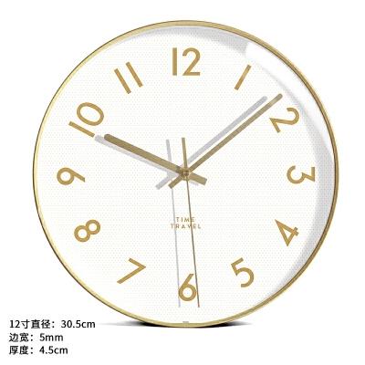 墨上花开北欧挂钟客厅个性创意时尚钟表现代简约艺术轻奢家用时钟  12英寸
