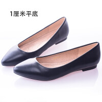 大码工作鞋女黑色粗跟中跟高跟皮鞋空姐礼仪面试平底单鞋女鞋