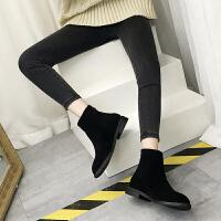 BANGDE潮流靴女2018秋冬季新品韩版百搭平底短筒靴后拉链及踝靴马丁靴 黑色