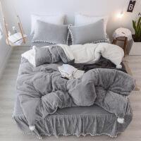 冬季加厚羊羔绒公主风纯色兔兔绒四件套床裙款法莱绒被套床上用品定制