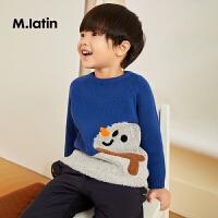 【5折券预估价:114.5元】马拉丁童装男小童毛衣冬装新款时尚提花图案打底衫套头针织衫