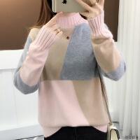 秋冬新款韩版半高领加绒加厚拼色针织衫学生套头毛衣女时尚打底衫