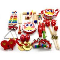 木儿童打击乐器套装组合婴幼儿早教教具音乐器材手摇铃 绿色乐器15件套 送数数棒1包
