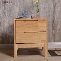 收纳柜实木橡胶木床头柜家具北欧简约现代日式小户型储物柜 整装
