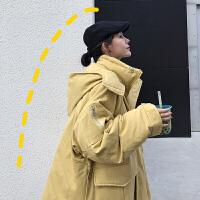 新年特惠冬装加厚夹棉连帽女2019新款韩版宽松中长款学生棉袄工装外套 均码