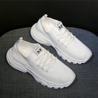 潮流透气休闲鞋飞织韩版运动鞋女春季新款女鞋百搭厚底跑步鞋学生 白色 R6K