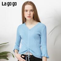 【5折价122】Lagogo/拉谷谷2019春季新款V领木耳边喇叭袖针织衫女IAMM332M03