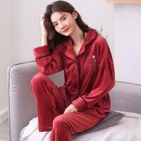珊瑚绒睡衣女士冬季加绒红色本命年秋冬法兰绒保暖家居服套装