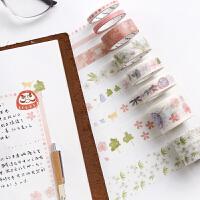 三年二班 樱花套装胶带8个装手帐装饰diy日记贴纸手账和纸胶带Q
