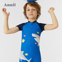 【2件4折价:107.6】安奈儿男童连体泳衣套装2021新款洋气鲨鱼温泉海滩泳装泳帽两件套