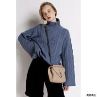 秋冬新款纯山羊绒衫女高领绞花毛衣慵懒宽松针织打底衫高端定做
