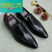 新品上市新款男士休闲皮鞋英伦风时尚真皮男鞋软皮透气套脚商务正装皮鞋男