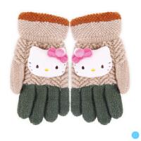 儿童手套 秋冬女童五指全指手套学生保暖毛线手套