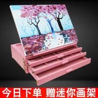 粉色三层抽屉式桌面台式折叠绘画架8K木质画板套装素描水粉彩油画丙烯手绘彩绘儿童节礼物盒马克笔涂鸦收纳盒