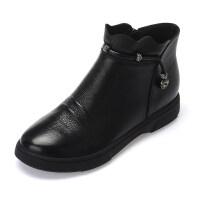 平底短靴真皮软底马丁靴牛皮单靴平跟2019秋冬女靴子休闲女鞋