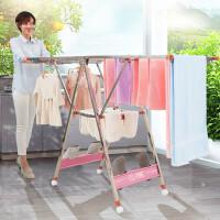 晾衣架不锈钢落地折叠翼型室内外阳台移动婴儿尿布简易晒被架 大