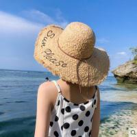INS 网红同款时尚新品女拉菲草帽女海边遮阳防晒度假字母大檐出游沙滩帽子