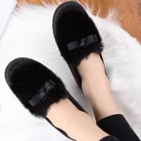 秋冬季保暖豆豆鞋女加绒平底女鞋月子鞋毛毛鞋棉拖鞋