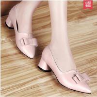 百年纪念尖头 新品女鞋 新款潮粗跟 单鞋女高跟鞋子1005