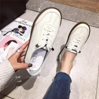 休闲鞋女2019春季新款时尚真皮透明牛筋底软底系带百搭英伦风女鞋