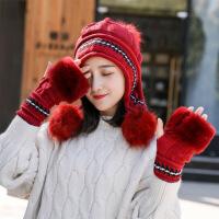 毛线帽子女冬天韩版百搭甜美可爱针织包头护耳帽时尚加厚保暖帽潮
