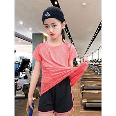 女童运动套装夏季中大童儿童小女孩短袖速干衣健身休闲跑步两件套