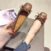 鞋子女2019春季新款韩版格子布百搭方头平底单鞋大码豆豆女鞋瓢鞋
