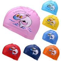 儿童泳帽PU涂层防水面料男童女童通用宝宝护耳硅胶泳帽学游泳馆