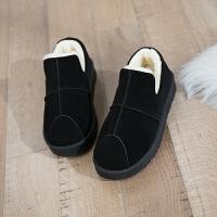 BANGDE2018冬季新品保暖加�q百搭�n版短筒短靴平底�W生棉鞋