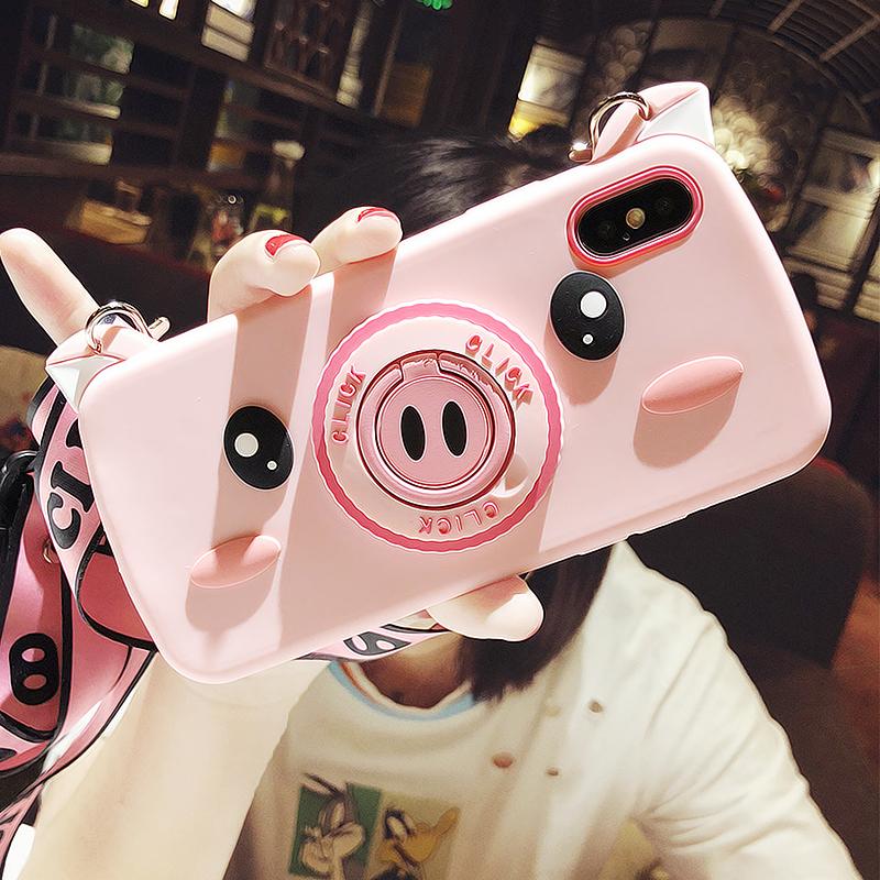 卡通可爱iphone X手机壳xsmax支架8plus防摔苹果7p带挂绳6s少女XR i6/6s 支架 背带粉猪相机