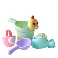 大号软胶儿童洗澡戏水玩具男孩女孩花洒水沙滩宝宝水壶套装过家家 小黄鸭花洒4件套