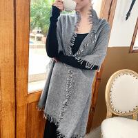 上海故事新款羊毛柔软纯色羊毛大围巾披肩女四边毛须时尚羊毛围巾
