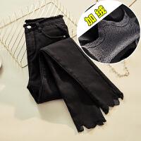 新年礼物加绒裤子女秋冬季2019新款紧身外穿加厚高腰圆环小脚裤黑色牛仔裤