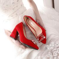 婚鞋女高跟红色结婚鞋子水钻中跟粗跟孕妇婚纱新娘鞋秀禾鞋敬酒鞋 红色165-2水钻方扣款 跟高5厘米