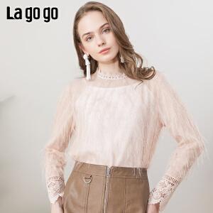 Lagogo/拉谷谷2019春季新款亮丝羽毛纱雪纺上衣女IASS57ZG78